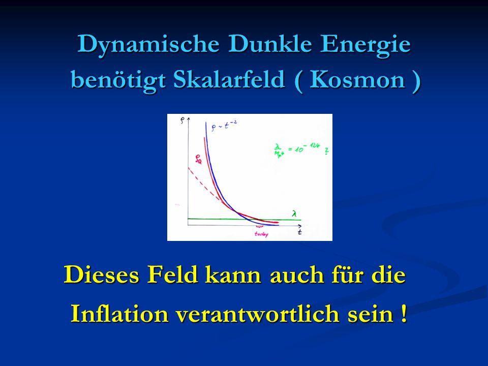 Dynamische Dunkle Energie benötigt Skalarfeld ( Kosmon ) benötigt Skalarfeld ( Kosmon ) Dieses Feld kann auch für die Dieses Feld kann auch für die In