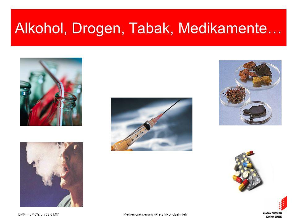 Medienorientierung «Preis Alkoholzehntel»DVR – JMC/alp / 22.01.07 Alkohol, Drogen, Tabak, Medikamente…