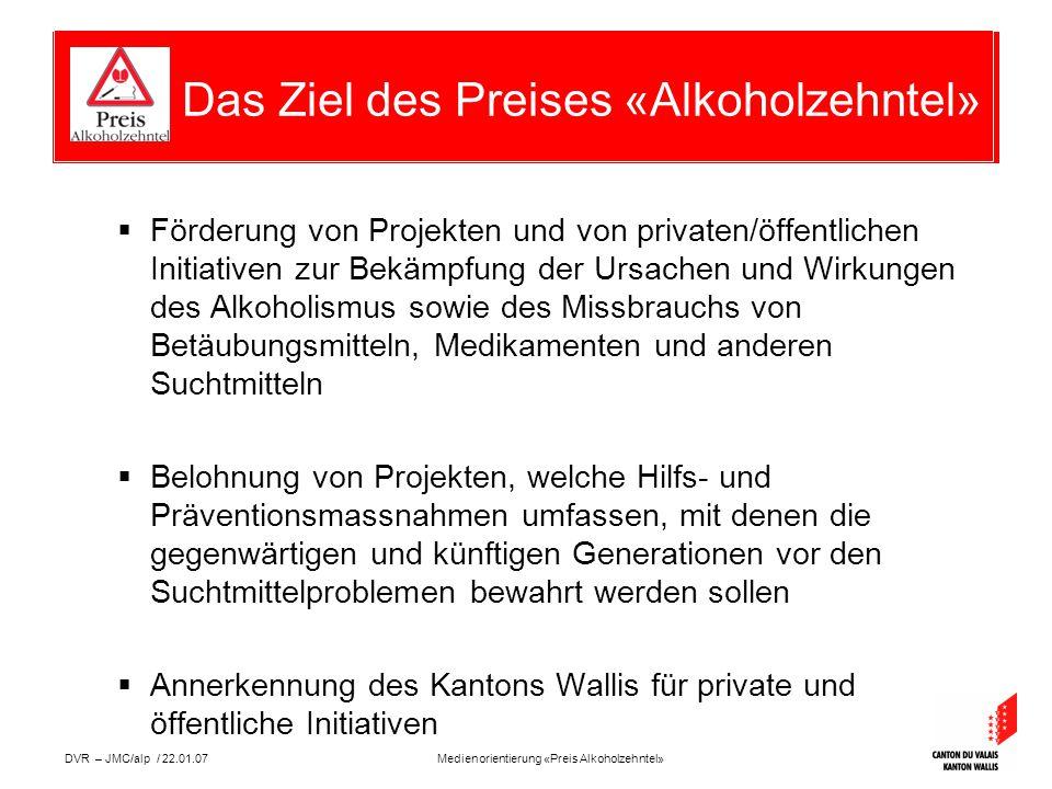 Medienorientierung «Preis Alkoholzehntel»DVR – JMC/alp / 22.01.07  Preis im Wert zwischen Fr.
