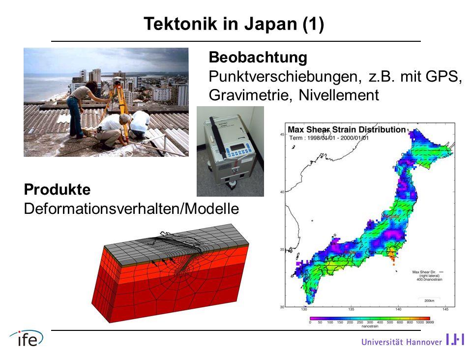 Tektonik in Japan (1) Produkte Deformationsverhalten/Modelle Beobachtung Punktverschiebungen, z.B.