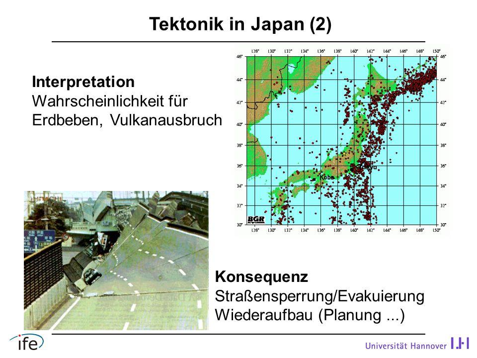 Tektonik in Japan (2) Interpretation Wahrscheinlichkeit für Erdbeben, Vulkanausbruch Konsequenz Straßensperrung/Evakuierung Wiederaufbau (Planung...)