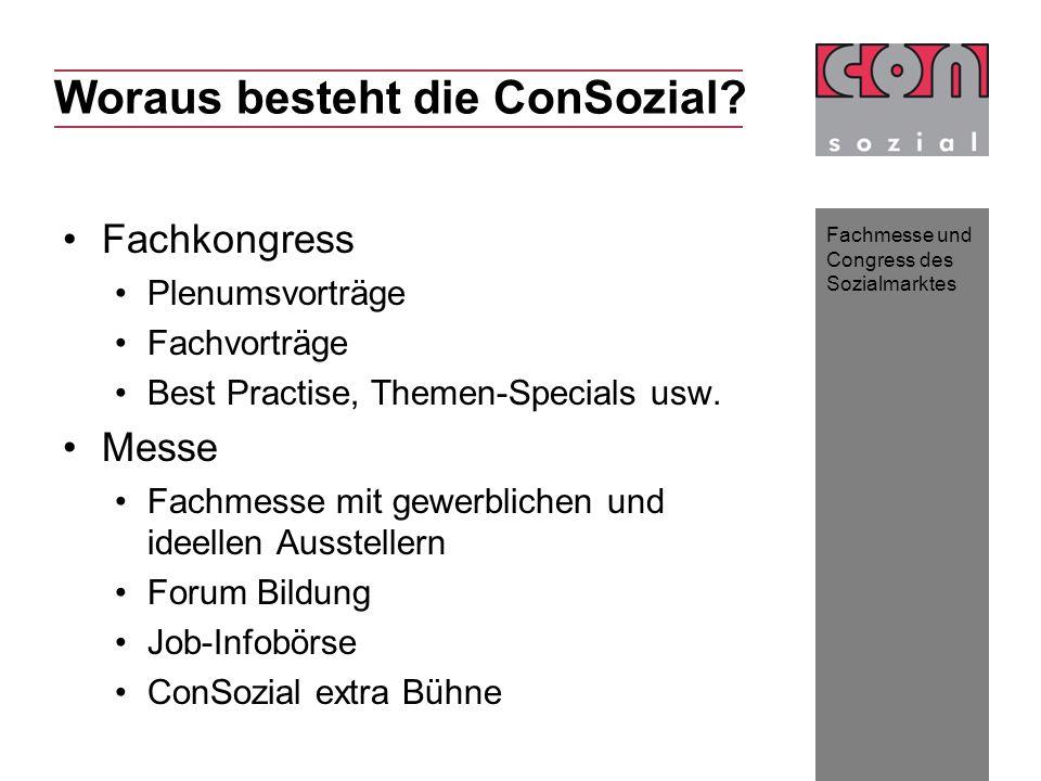 Fachmesse und Congress des Sozialmarktes Fachkongress Plenumsvorträge Fachvorträge Best Practise, Themen-Specials usw.
