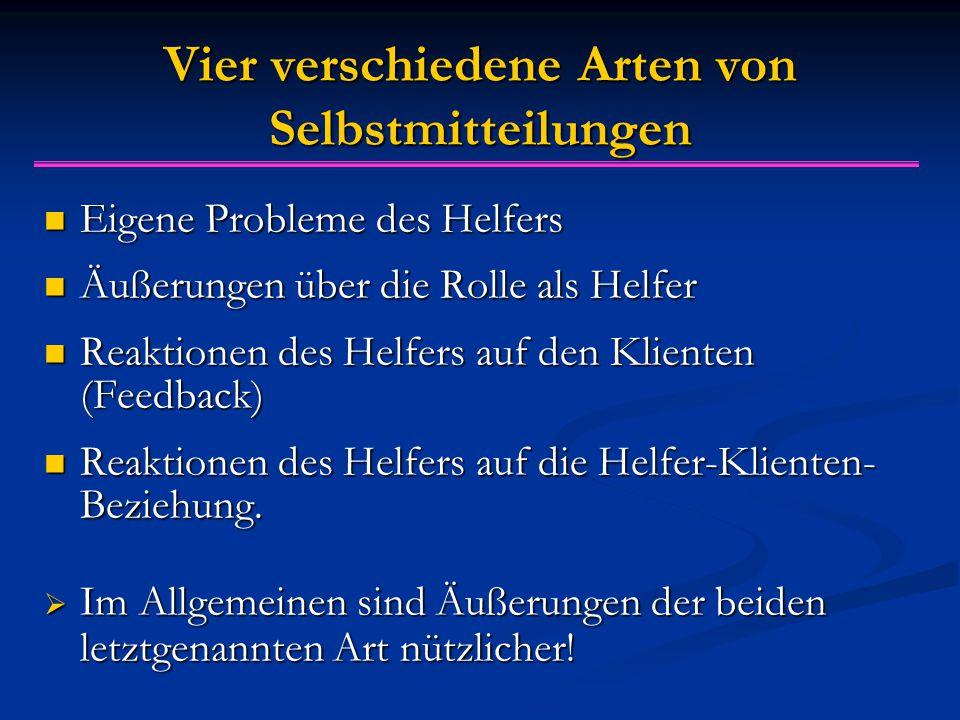 Vier verschiedene Arten von Selbstmitteilungen Eigene Probleme des Helfers Eigene Probleme des Helfers Äußerungen über die Rolle als Helfer Äußerungen über die Rolle als Helfer Reaktionen des Helfers auf den Klienten (Feedback) Reaktionen des Helfers auf den Klienten (Feedback) Reaktionen des Helfers auf die Helfer-Klienten- Beziehung.