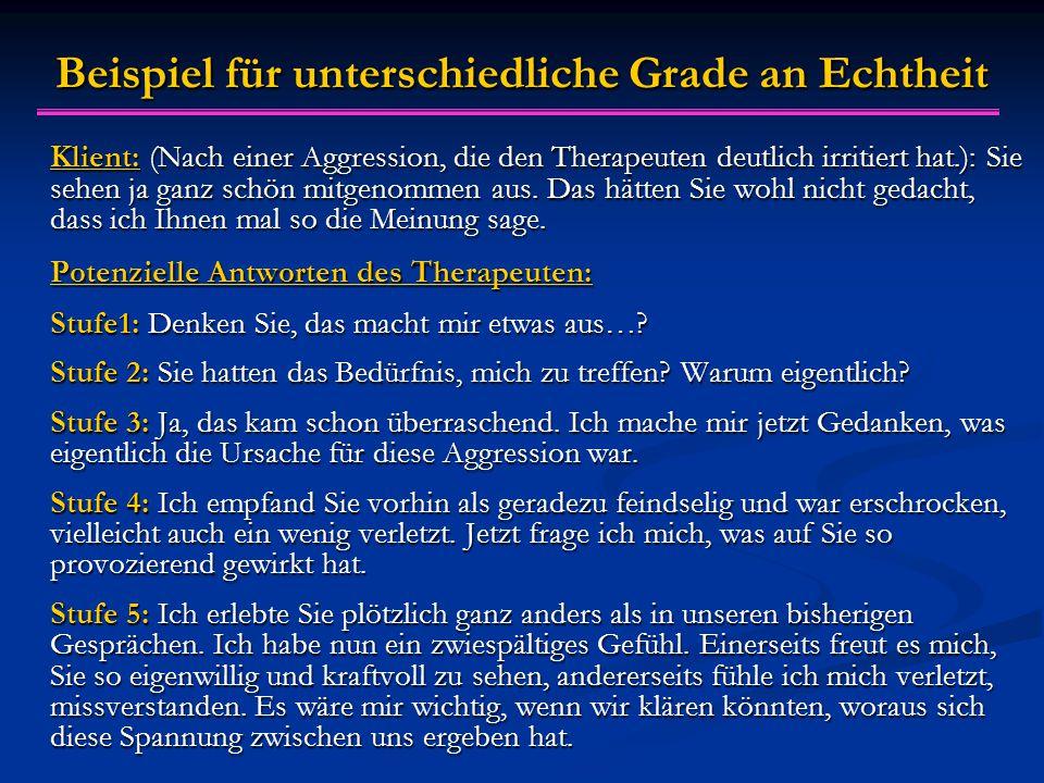 Beispiel für unterschiedliche Grade an Echtheit Klient: (Nach einer Aggression, die den Therapeuten deutlich irritiert hat.): Sie sehen ja ganz schön mitgenommen aus.