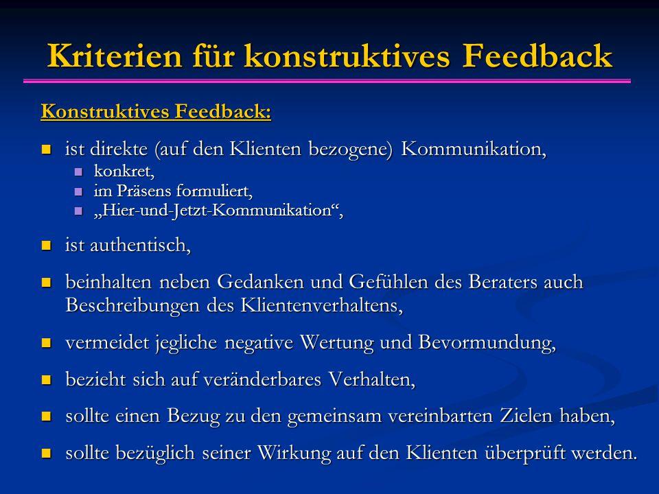 """Kriterien f ü r konstruktives Feedback Konstruktives Feedback: ist direkte (auf den Klienten bezogene) Kommunikation, ist direkte (auf den Klienten bezogene) Kommunikation, konkret, konkret, im Präsens formuliert, im Präsens formuliert, """"Hier-und-Jetzt-Kommunikation , """"Hier-und-Jetzt-Kommunikation , ist authentisch, ist authentisch, beinhalten neben Gedanken und Gefühlen des Beraters auch Beschreibungen des Klientenverhaltens, beinhalten neben Gedanken und Gefühlen des Beraters auch Beschreibungen des Klientenverhaltens, vermeidet jegliche negative Wertung und Bevormundung, vermeidet jegliche negative Wertung und Bevormundung, bezieht sich auf veränderbares Verhalten, bezieht sich auf veränderbares Verhalten, sollte einen Bezug zu den gemeinsam vereinbarten Zielen haben, sollte einen Bezug zu den gemeinsam vereinbarten Zielen haben, sollte bezüglich seiner Wirkung auf den Klienten überprüft werden."""