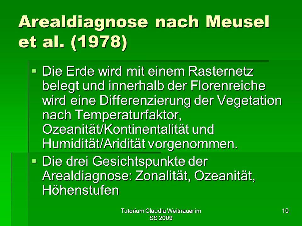 Tutorium Claudia Weitnauer im SS 2009 10 Arealdiagnose nach Meusel et al. (1978)  Die Erde wird mit einem Rasternetz belegt und innerhalb der Florenr