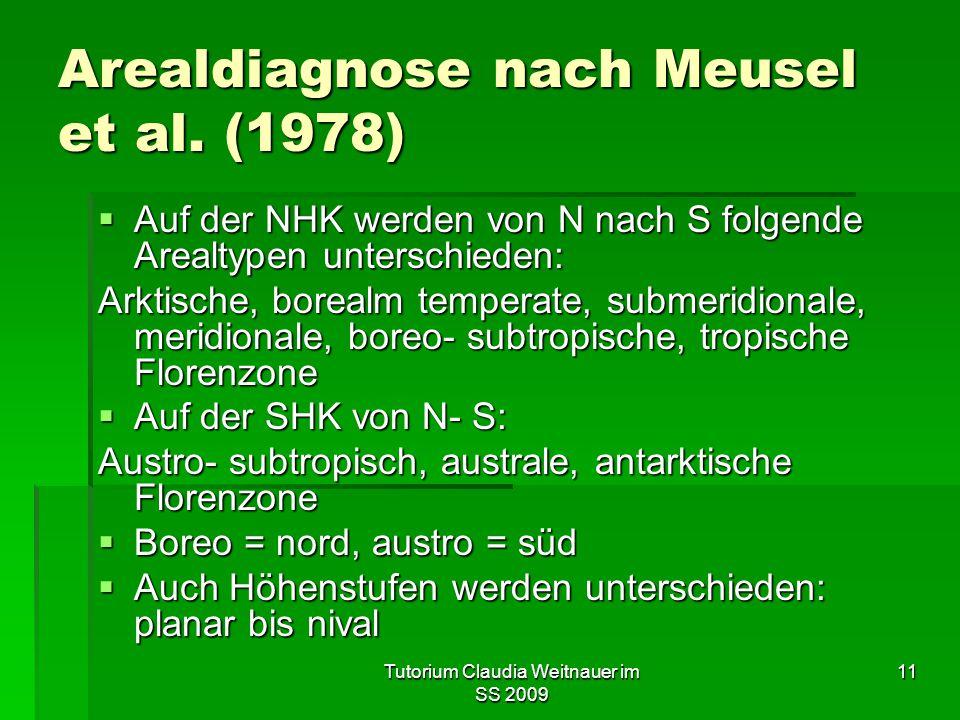 Tutorium Claudia Weitnauer im SS 2009 11 Arealdiagnose nach Meusel et al. (1978)  Auf der NHK werden von N nach S folgende Arealtypen unterschieden:
