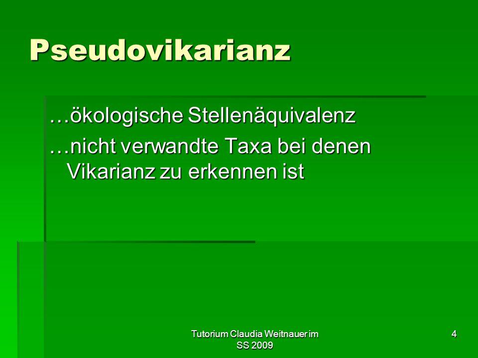 Tutorium Claudia Weitnauer im SS 2009 4 Pseudovikarianz …ökologische Stellenäquivalenz …nicht verwandte Taxa bei denen Vikarianz zu erkennen ist