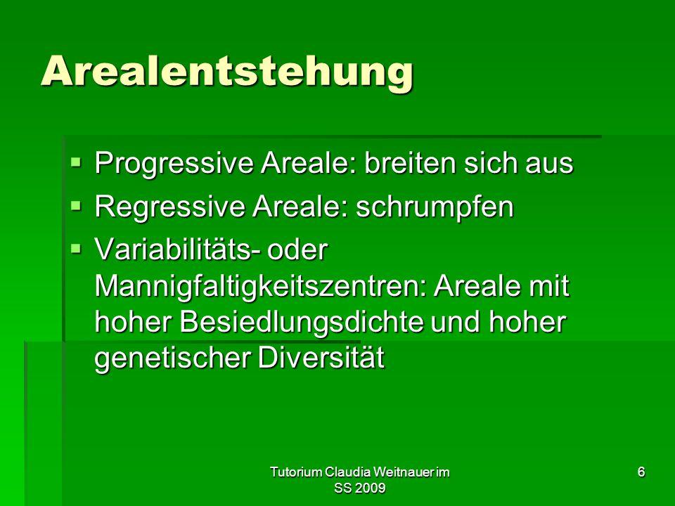 Tutorium Claudia Weitnauer im SS 2009 6 Arealentstehung  Progressive Areale: breiten sich aus  Regressive Areale: schrumpfen  Variabilitäts- oder M
