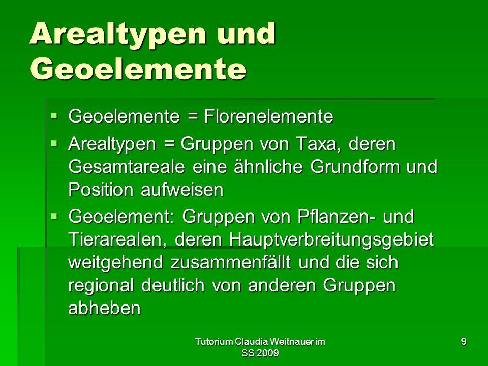 Tutorium Claudia Weitnauer im SS 2009 9 Arealtypen und Geoelemente  Geoelemente = Florenelemente  Arealtypen = Gruppen von Taxa, deren Gesamtareale