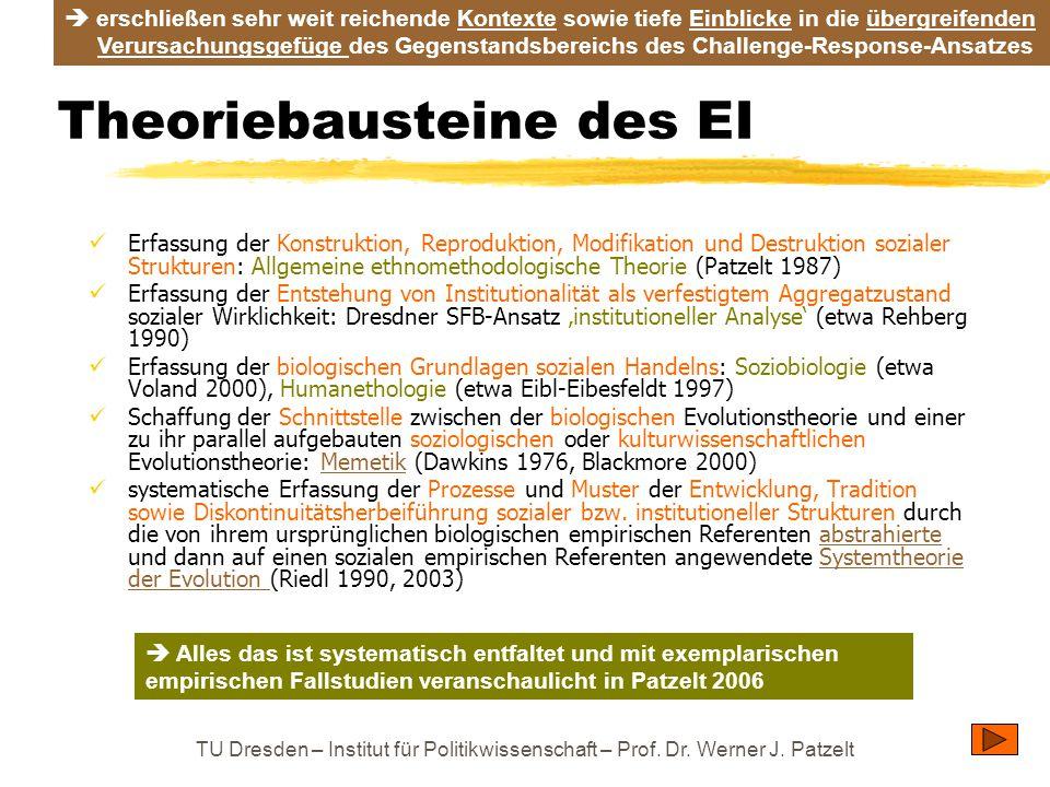 TU Dresden – Institut für Politikwissenschaft – Prof. Dr. Werner J. Patzelt Theoriebausteine des EI Erfassung der Konstruktion, Reproduktion, Modifika