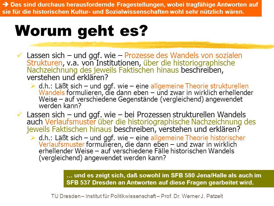 TU Dresden – Institut für Politikwissenschaft – Prof. Dr. Werner J. Patzelt Worum geht es? Lassen sich – und ggf. wie – Prozesse des Wandels von sozia