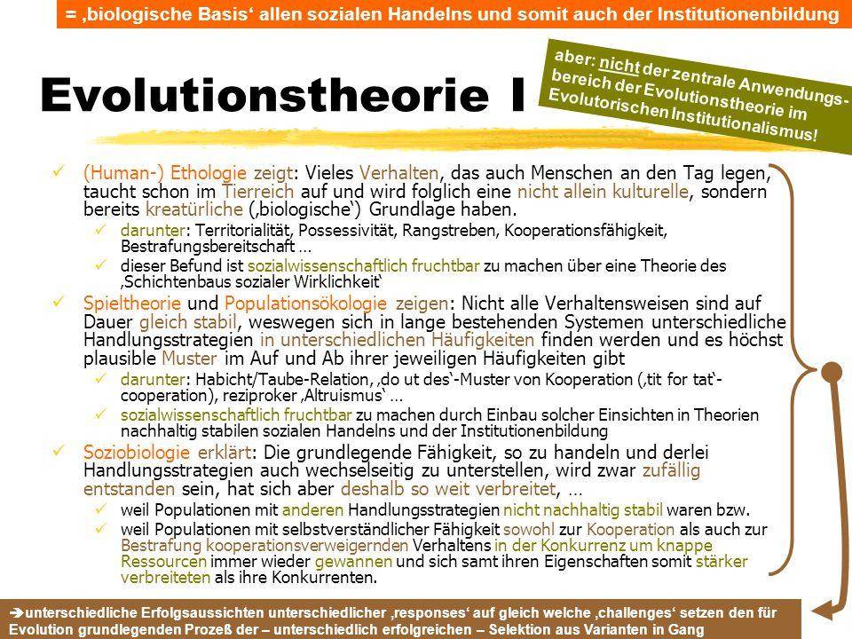 TU Dresden – Institut für Politikwissenschaft – Prof. Dr. Werner J. Patzelt Evolutionstheorie I (Human-) Ethologie zeigt: Vieles Verhalten, das auch M