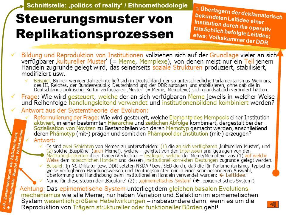 TU Dresden – Institut für Politikwissenschaft – Prof. Dr. Werner J. Patzelt Schnittstelle: 'politics of reality' / Ethnomethodologie Steuerungsmuster