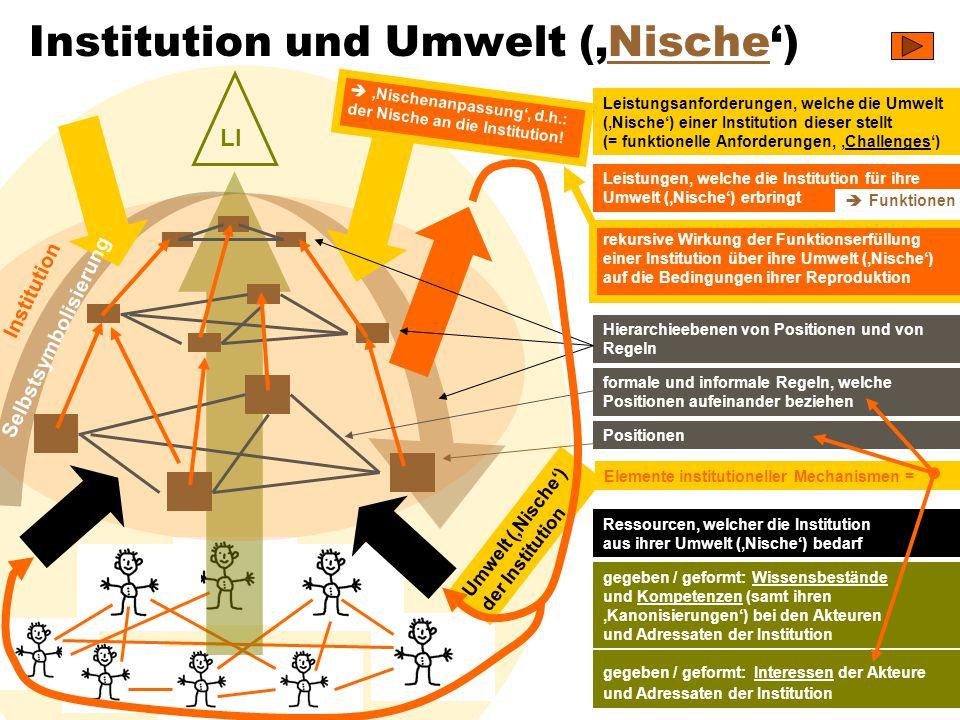 TU Dresden – Institut für Politikwissenschaft – Prof. Dr. Werner J. Patzelt LI Institution und Umwelt ('Nische')Nische Positionen formale und informal