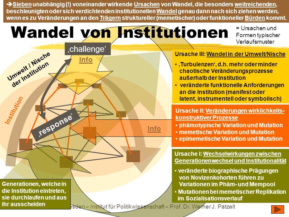 TU Dresden – Institut für Politikwissenschaft – Prof. Dr. Werner J. Patzelt Umwelt / Nische der Institution Institution Ursache III: Wandel in der Umw