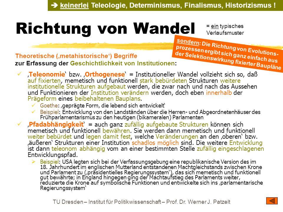 TU Dresden – Institut für Politikwissenschaft – Prof. Dr. Werner J. Patzelt Richtung von Wandel 'Teleonomie' bzw. 'Orthogenese' = Institutioneller Wan