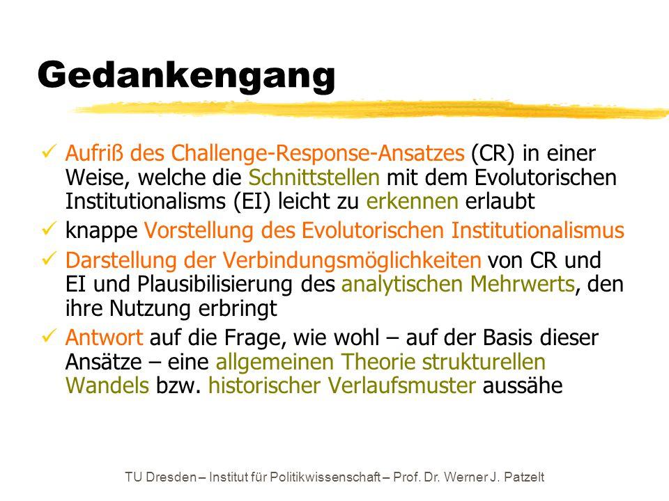 TU Dresden – Institut für Politikwissenschaft – Prof. Dr. Werner J. Patzelt Gedankengang Aufriß des Challenge-Response-Ansatzes (CR) in einer Weise, w