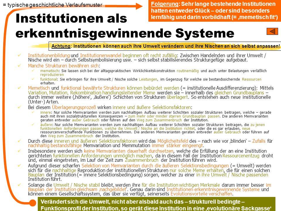 TU Dresden – Institut für Politikwissenschaft – Prof. Dr. Werner J. Patzelt Institutionen als erkenntnisgewinnende Systeme Institutionenbildung und In