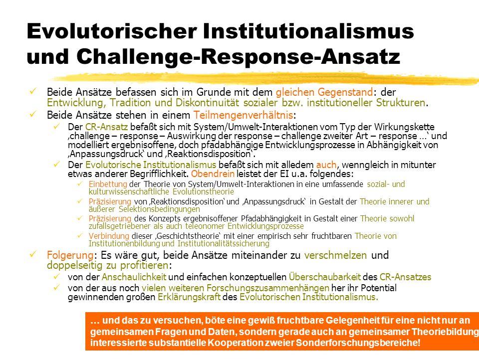 TU Dresden – Institut für Politikwissenschaft – Prof. Dr. Werner J. Patzelt Evolutorischer Institutionalismus und Challenge-Response-Ansatz Beide Ansä