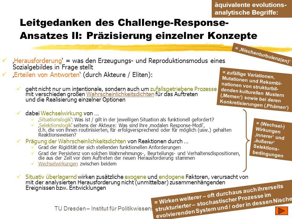 TU Dresden – Institut für Politikwissenschaft – Prof. Dr. Werner J. Patzelt Leitgedanken des Challenge-Response- Ansatzes II: Präzisierung einzelner K