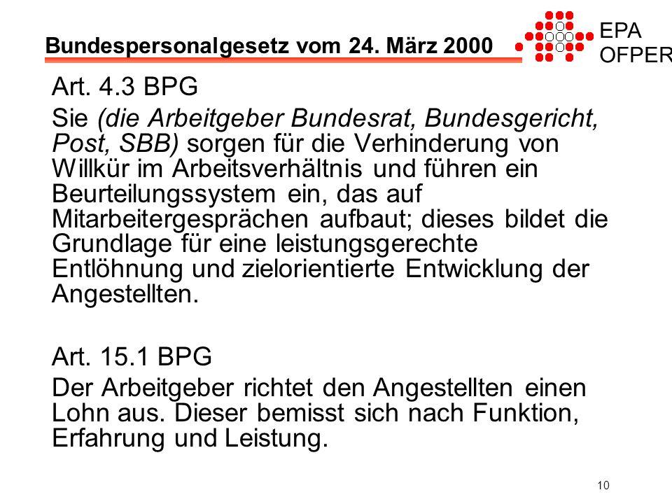 EPA OFPER 10 Bundespersonalgesetz vom 24. März 2000 Art.