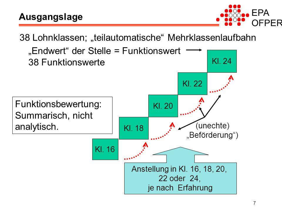 "EPA OFPER 7 Ausgangslage 38 Lohnklassen; ""teilautomatische Mehrklassenlaufbahn Kl."