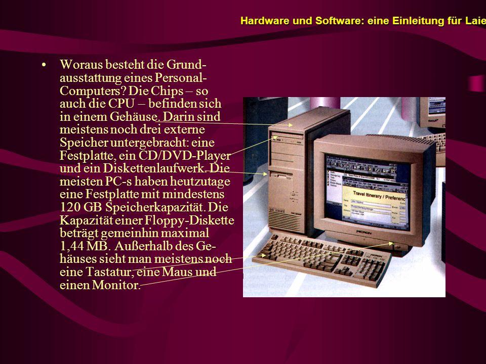 Hardware und Software: eine Einleitung für Laien Woraus besteht die Grund- ausstattung eines Personal- Computers.