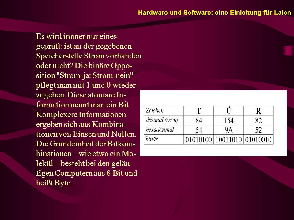 Hardware und Software: eine Einleitung für Laien Es wird immer nur eines geprüft: ist an der gegebenen Speicherstelle Strom vorhanden oder nicht.