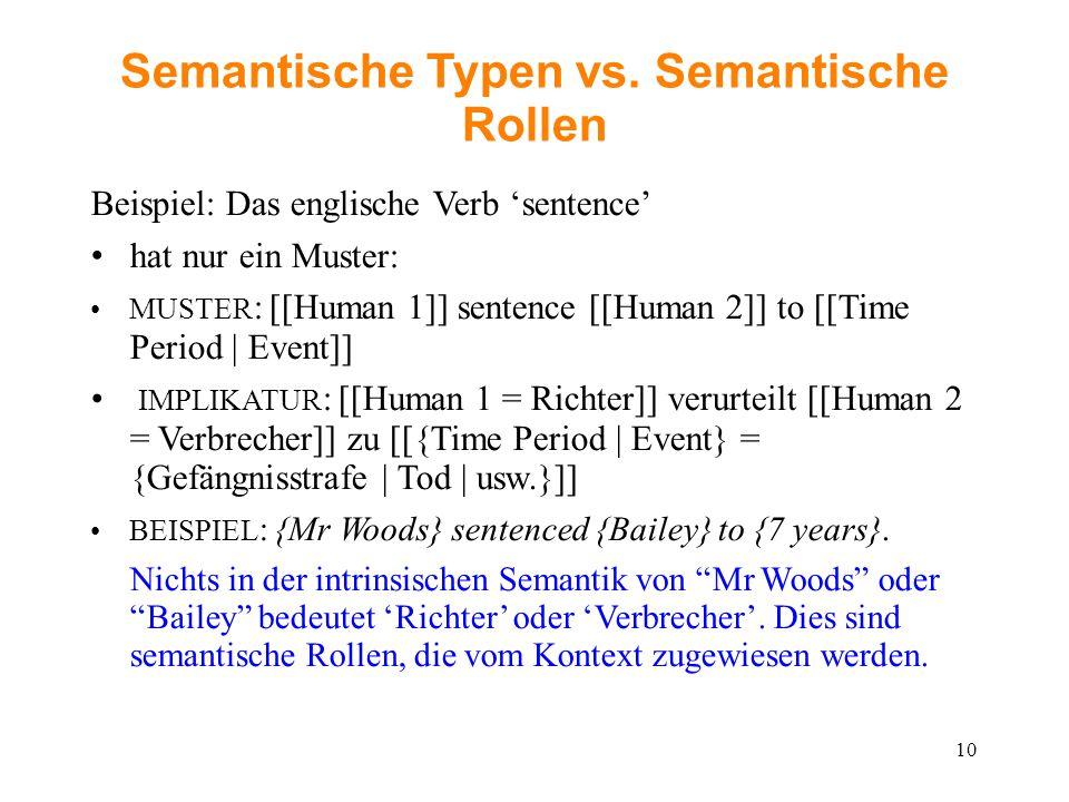 Semantische Typen vs. Semantische Rollen Beispiel: Das englische Verb 'sentence' hat nur ein Muster: MUSTER : [[Human 1]] sentence [[Human 2]] to [[Ti