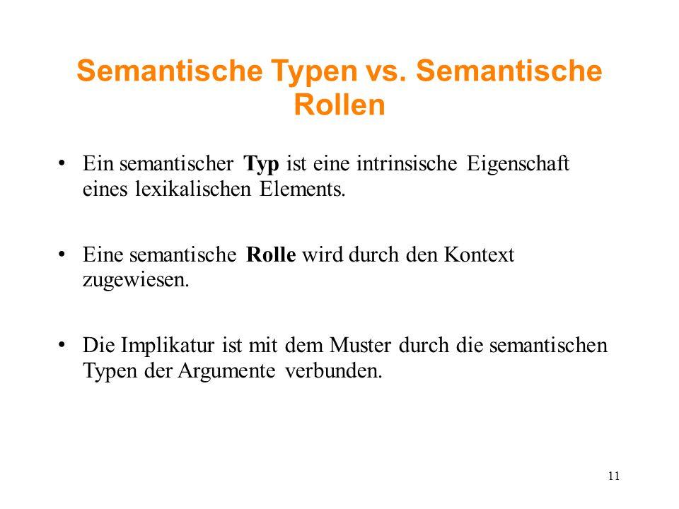 Semantische Typen vs. Semantische Rollen Ein semantischer Typ ist eine intrinsische Eigenschaft eines lexikalischen Elements. Eine semantische Rolle w