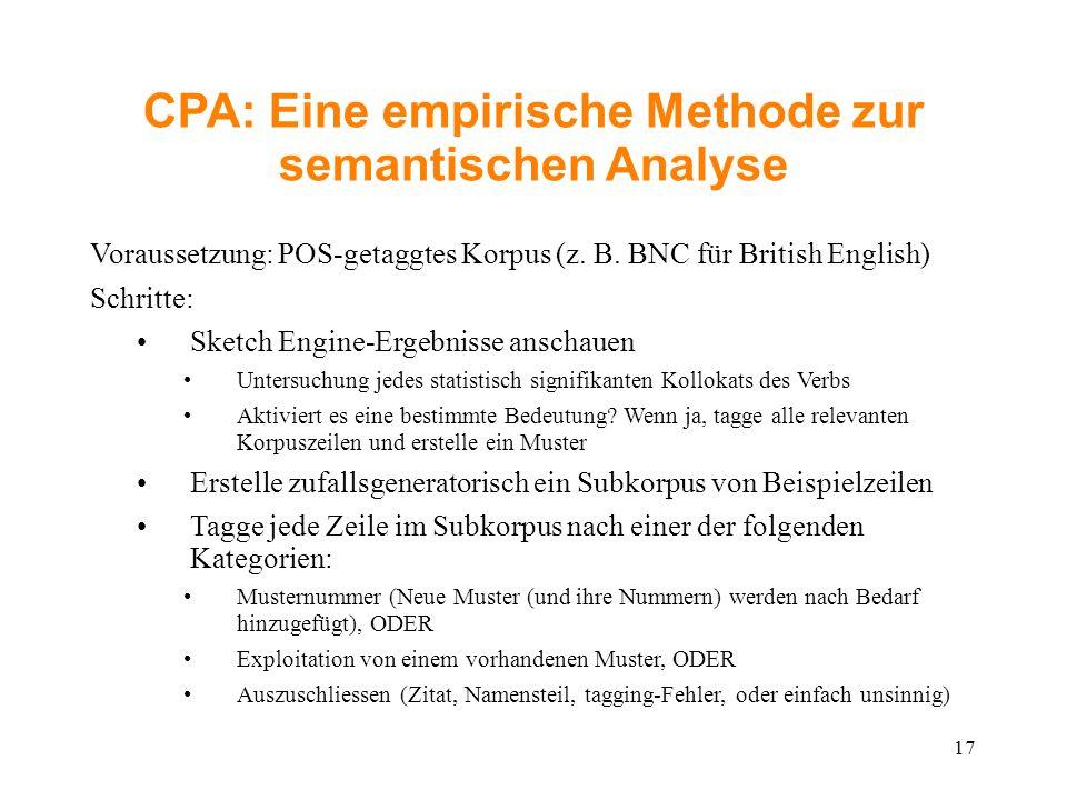 CPA: Eine empirische Methode zur semantischen Analyse Voraussetzung: POS-getaggtes Korpus (z. B. BNC für British English) Schritte: Sketch Engine-Erg