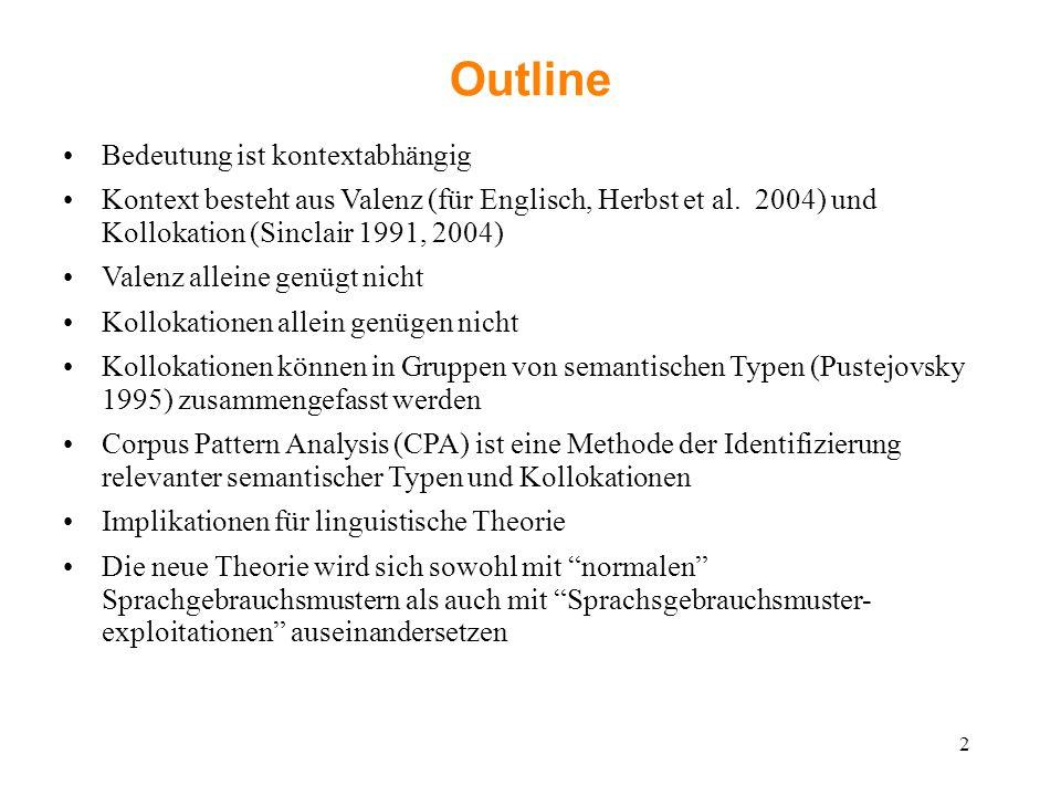 Outline Bedeutung ist kontextabhängig Kontext besteht aus Valenz (für Englisch, Herbst et al. 2004) und Kollokation (Sinclair 1991, 2004) Valenz allei
