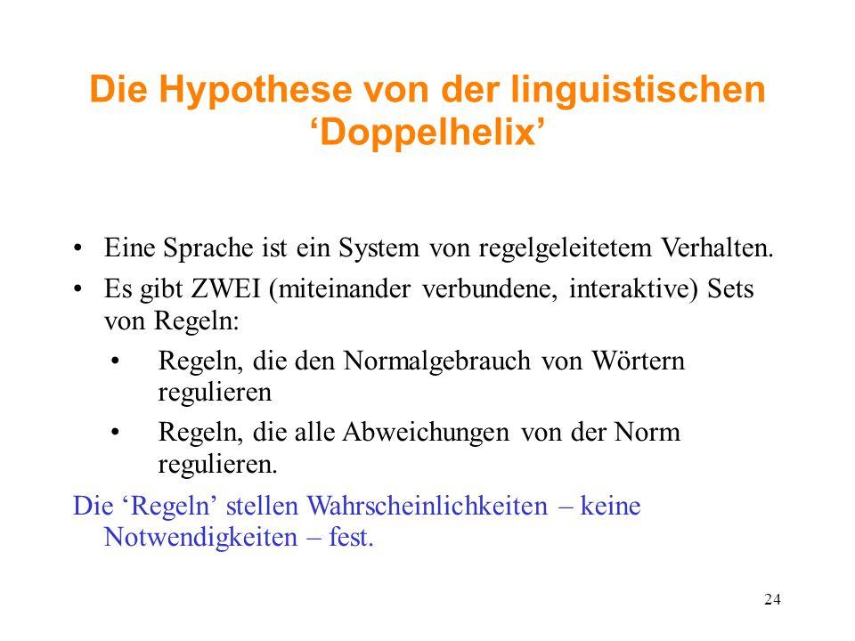 Die Hypothese von der linguistischen 'Doppelhelix' Eine Sprache ist ein System von regelgeleitetem Verhalten. Es gibt ZWEI (miteinander verbundene, in