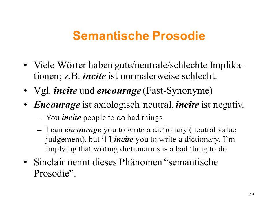 Semantische Prosodie Viele Wörter haben gute/neutrale/schlechte Implika- tionen; z.B. incite ist normalerweise schlecht. Vgl. incite und encourage (Fa