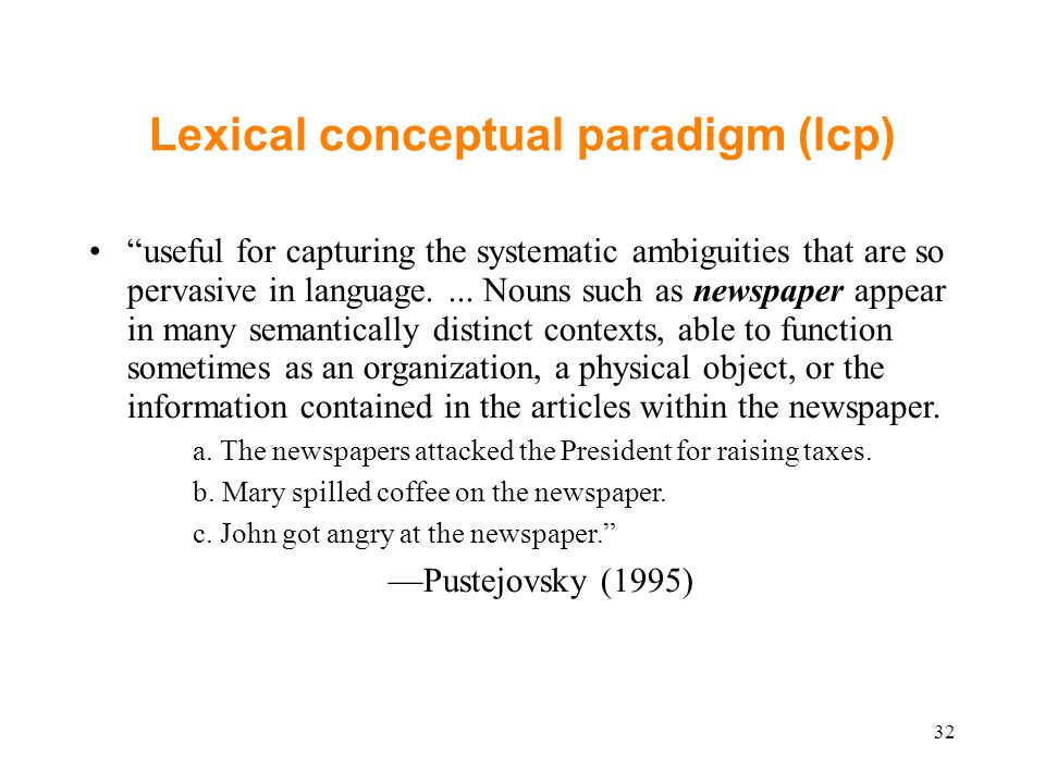 Lexical conceptual paradigm (lcp) useful for capturing the systematic ambiguities that are so pervasive in language....