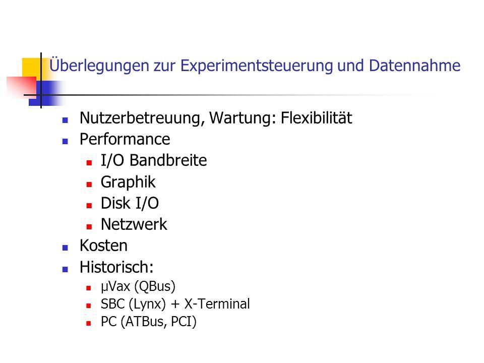 Überlegungen zur Experimentsteuerung und Datennahme Nutzerbetreuung, Wartung: Flexibilität Performance I/O Bandbreite Graphik Disk I/O Netzwerk Kosten
