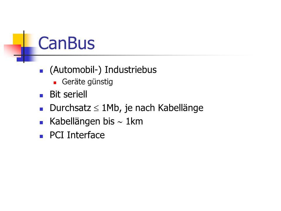 CanBus (Automobil-) Industriebus Geräte günstig Bit seriell Durchsatz  1Mb, je nach Kabellänge Kabellängen bis  1km PCI Interface