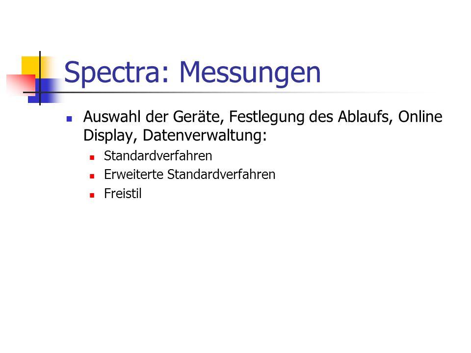 Spectra: Messungen Auswahl der Geräte, Festlegung des Ablaufs, Online Display, Datenverwaltung: Standardverfahren Erweiterte Standardverfahren Freisti