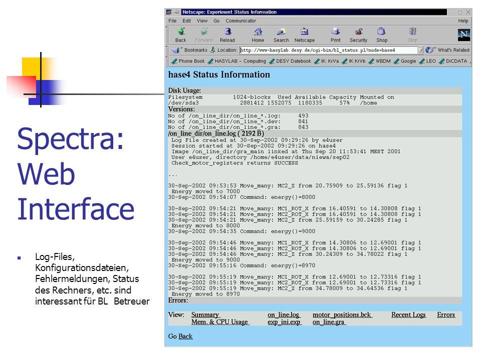 Spectra: Web Interface Log-Files, Konfigurationsdateien, Fehlermeldungen, Status des Rechners, etc. sind interessant für BL Betreuer