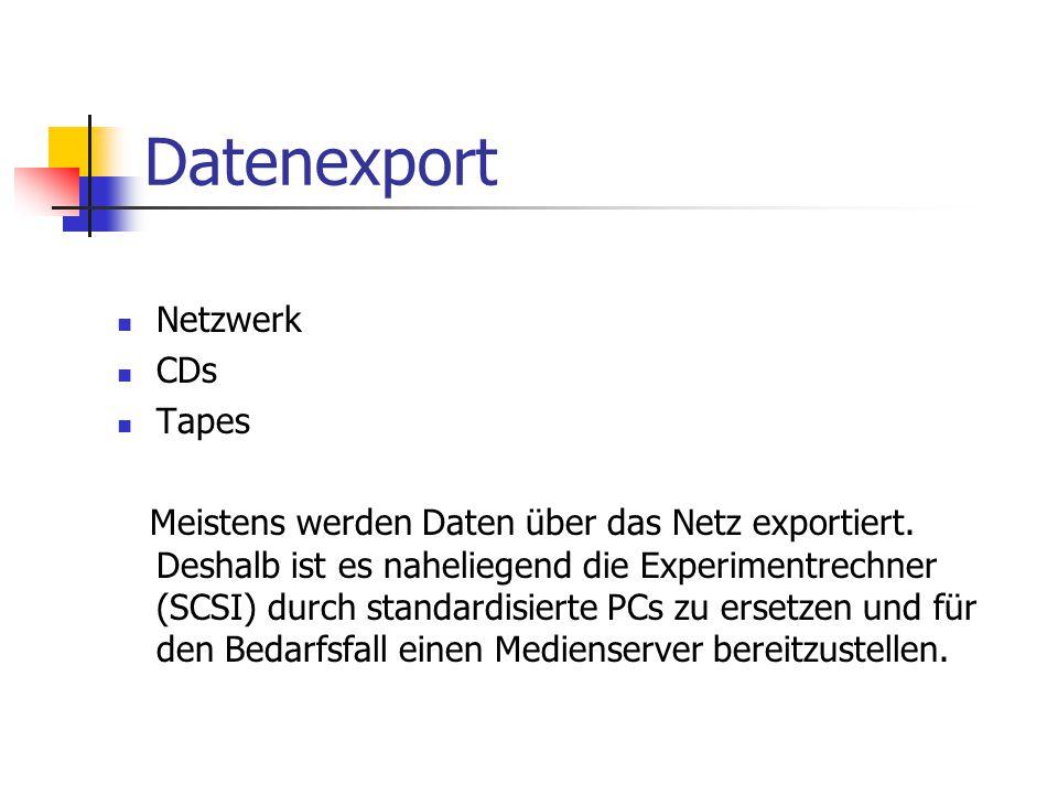 Datenexport Netzwerk CDs Tapes Meistens werden Daten über das Netz exportiert. Deshalb ist es naheliegend die Experimentrechner (SCSI) durch standardi