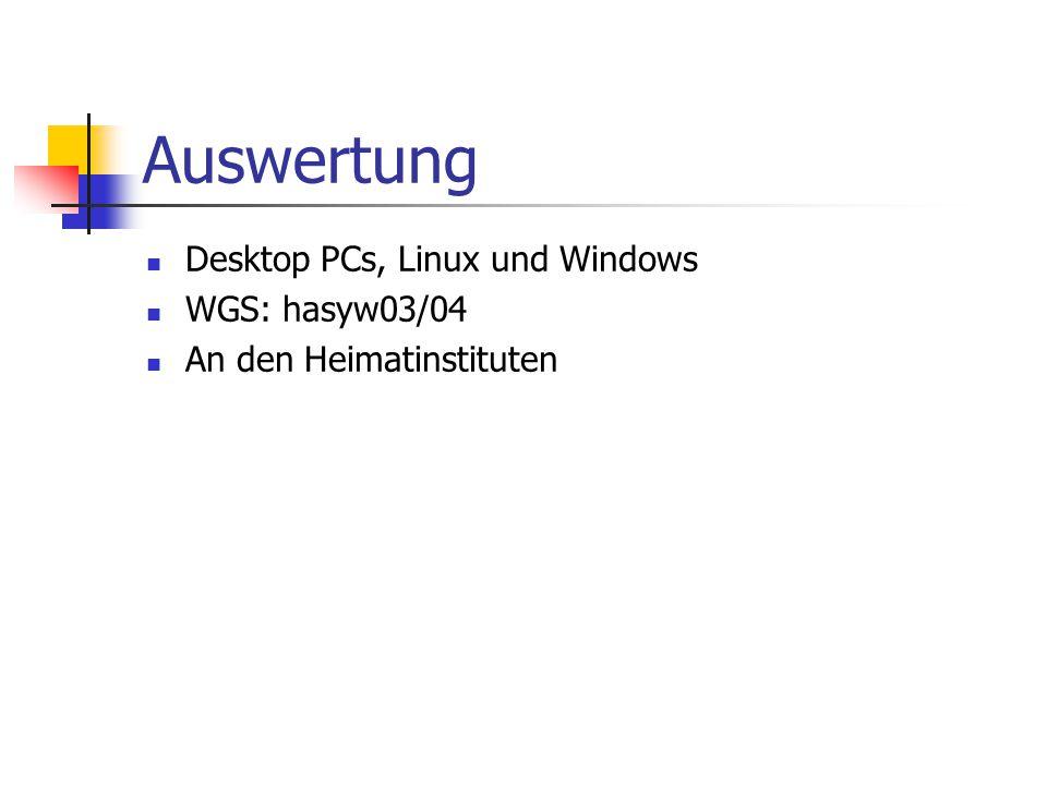 Auswertung Desktop PCs, Linux und Windows WGS: hasyw03/04 An den Heimatinstituten