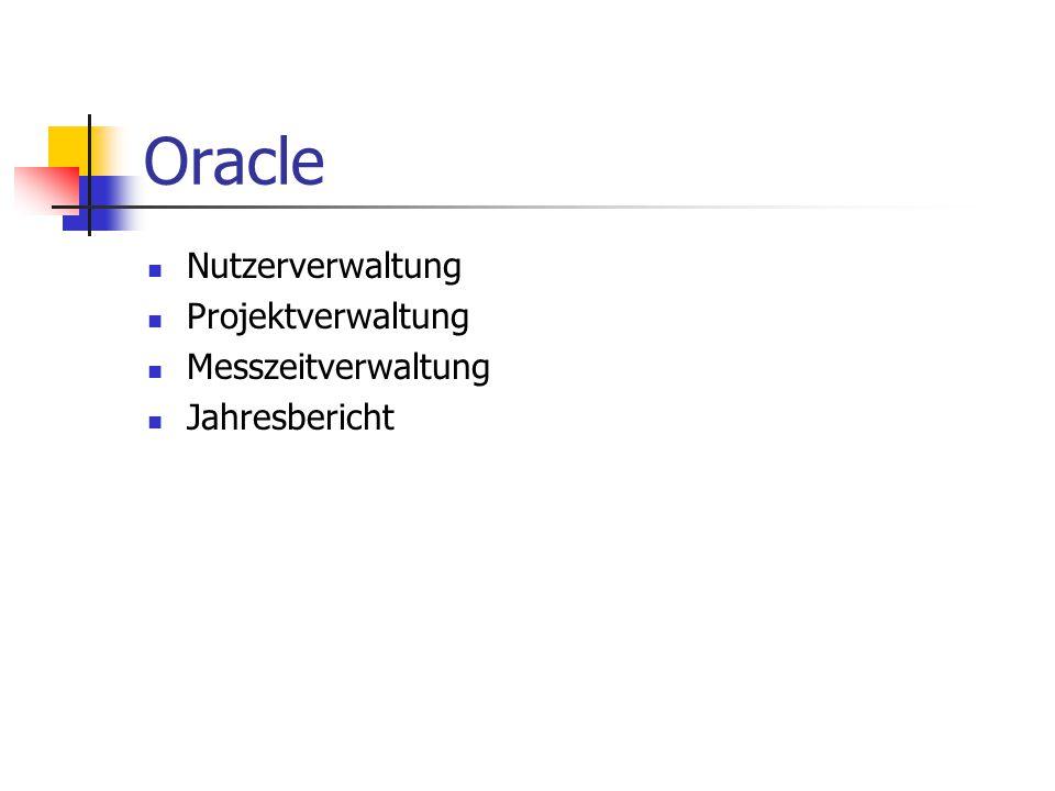 Oracle Nutzerverwaltung Projektverwaltung Messzeitverwaltung Jahresbericht