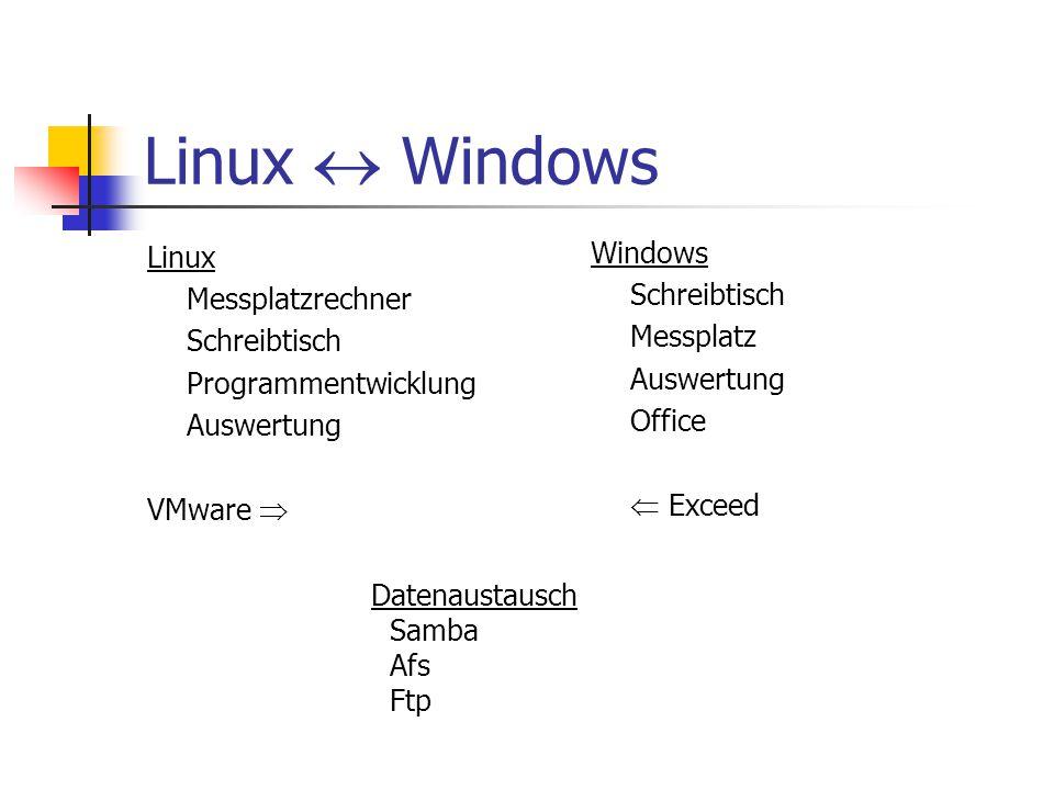 Linux  Windows Linux Messplatzrechner Schreibtisch Programmentwicklung Auswertung VMware  Windows Schreibtisch Messplatz Auswertung Office  Exceed