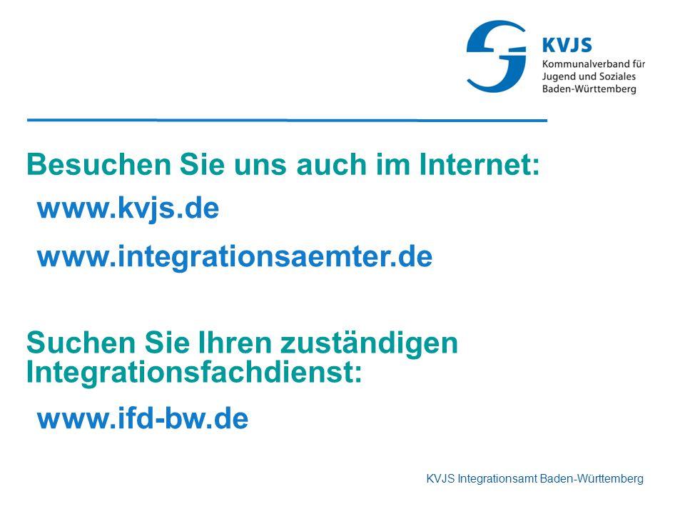 KVJS Integrationsamt Baden-Württemberg Besuchen Sie uns auch im Internet: www.kvjs.de www.integrationsaemter.de Suchen Sie Ihren zuständigen Integrati