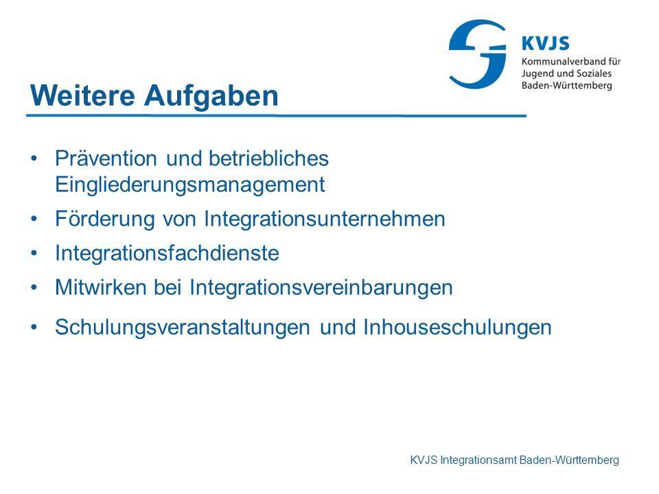 KVJS Integrationsamt Baden-Württemberg Weitere Aufgaben Prävention und betriebliches Eingliederungsmanagement Förderung von Integrationsunternehmen In