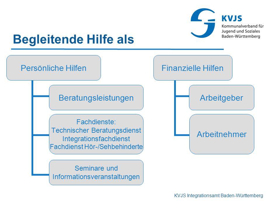 KVJS Integrationsamt Baden-Württemberg Begleitende Hilfe als Persönliche Hilfen Beratungsleistungen Fachdienste: Technischer Beratungsdienst Integrati