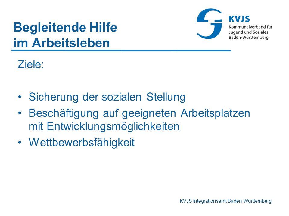 KVJS Integrationsamt Baden-Württemberg Begleitende Hilfe im Arbeitsleben Ziele: Sicherung der sozialen Stellung Beschäftigung auf geeigneten Arbeitspl