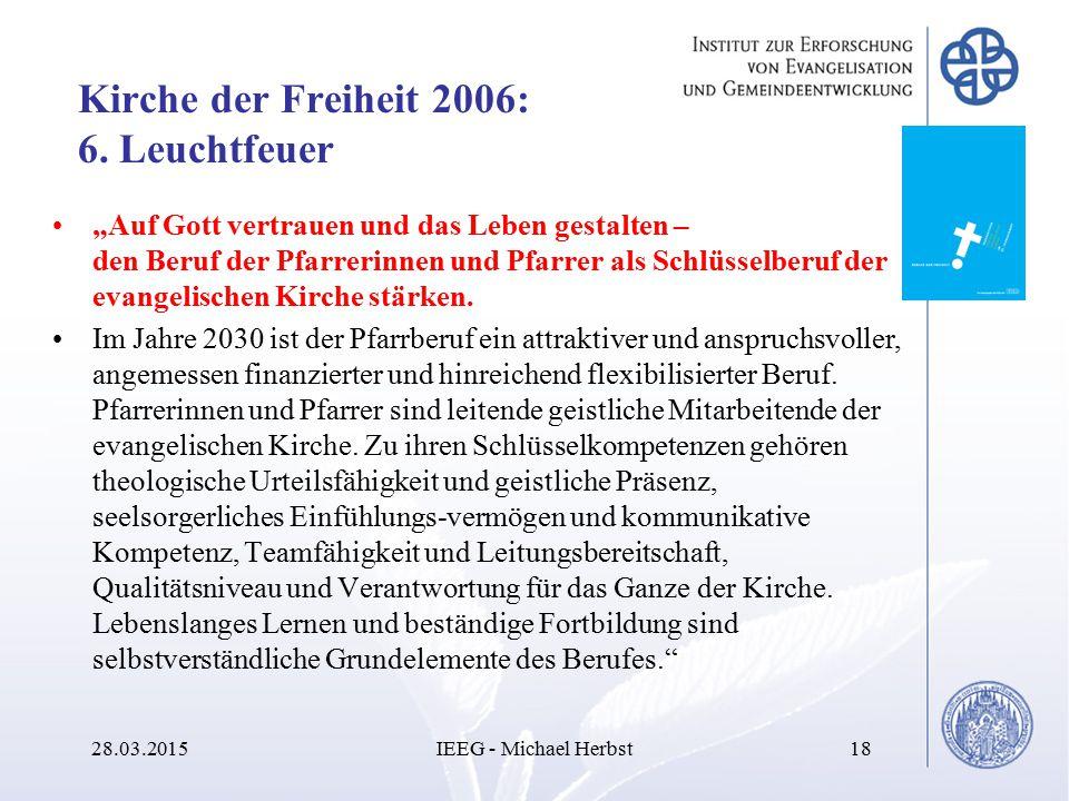 """Kirche der Freiheit 2006: 6. Leuchtfeuer """"Auf Gott vertrauen und das Leben gestalten – den Beruf der Pfarrerinnen und Pfarrer als Schlüsselberuf der e"""