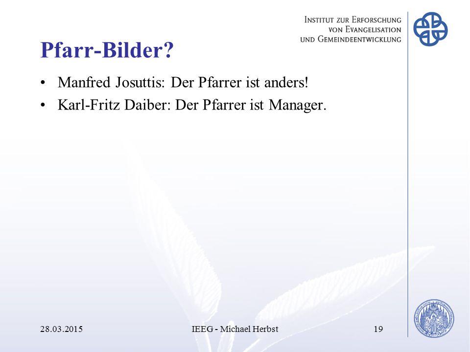 Pfarr-Bilder? Manfred Josuttis: Der Pfarrer ist anders! Karl-Fritz Daiber: Der Pfarrer ist Manager. 28.03.2015IEEG - Michael Herbst19
